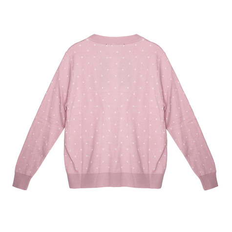 Twist Light Pink White Polka Dot Pattern Knit