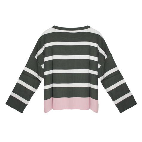 Twist Khaki, White & Off Pink Strip Knit