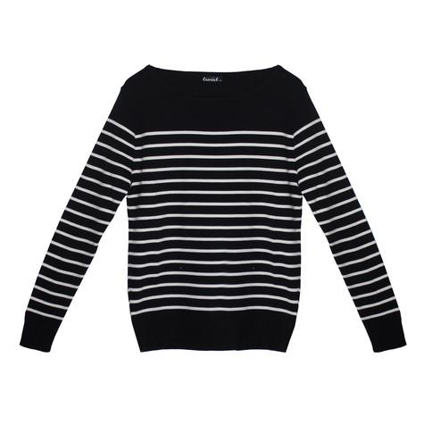 Twist Navy & White Stripe Long Sleeve Top