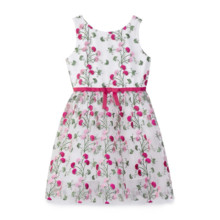 Yumi Girls Girl Floral white mesh embroidered party dress