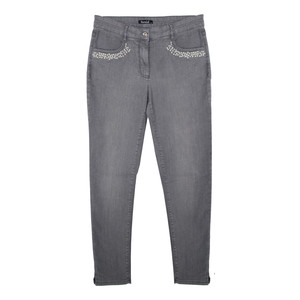 Twist Pearl Pocket Detail Silver Jeans