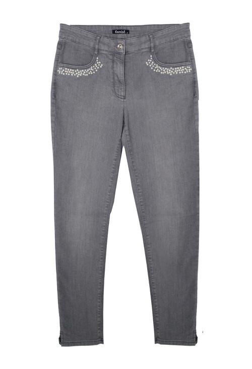 Twist Pearl Pocket Detail Silver Jeans