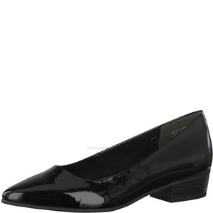 Marco Tozzi Black Patent Low Heel Court Shoes