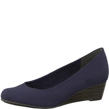 Marco Tozzi Navy Low Heel Wedge Court Shoe