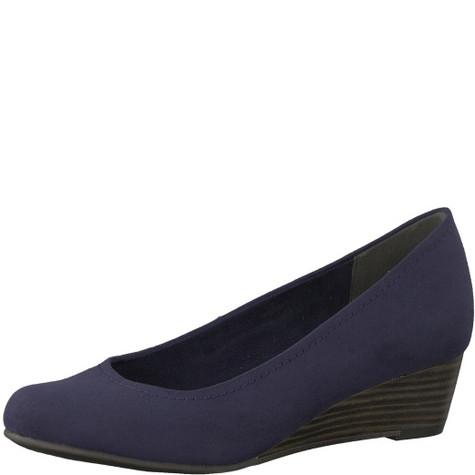 Marco Tozzi Navy Low Heel Wedge Court Shoe