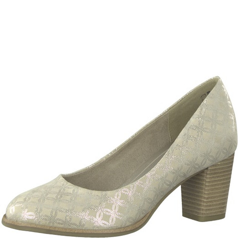 Marco Tozzi Off White Patterned Court Shoe