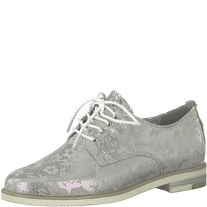 Marco Tozzi Light Grey Patterned Plain Lace Shoes