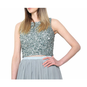 Lace & Beads Picasso Sliver Sequin Top