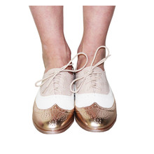 Belucci  Metallic Multi Tone Brogue in Champagne