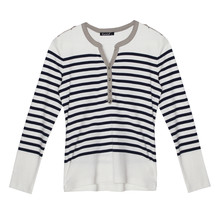 Twist Navy & Beige Stripe Top