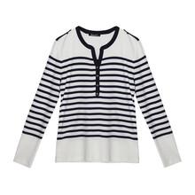 Twist White & Navy Stripe Top