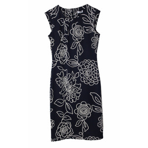 Zapara Ro Dalhi Navy Stitch Print Cap Sleeve Dress