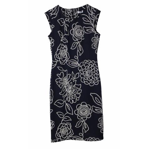 Zapara Ro Dalhi Navy Stitch Print Cap Sleeve Dress