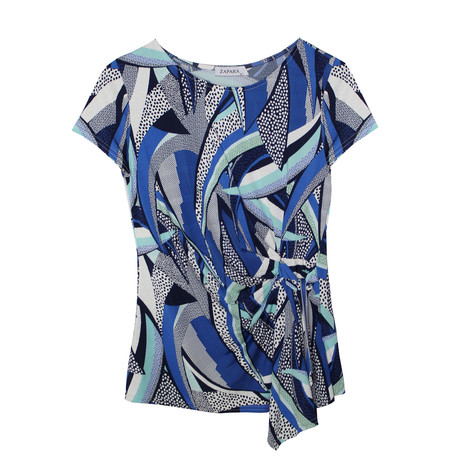 Zapara Royal Blue Multi Print Top