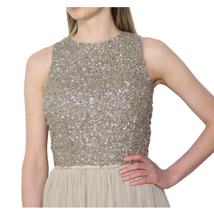 Lace & Beads Picasso Gold Sequin Top