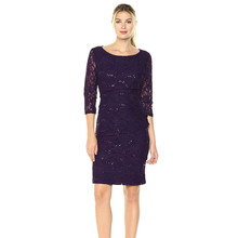 Ronni Nicole Navy Tiered Lace Cocktail Dress