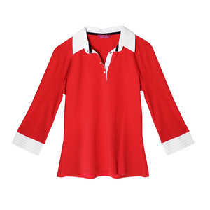Pamela B Red & White Poplin Polo Top