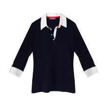 Pamela B Navy & White Poplin Polo Top