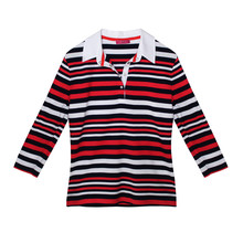 Pamela B Navy & White Stripe Polo Top