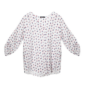 Twist White V-Neck Pattern Light Blouse