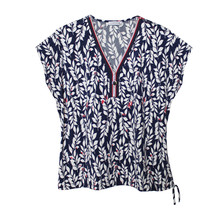 Zapara Navy Floral Zip Detail Top