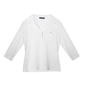 Twist White Open Collar Top
