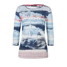 Olsen Seascape Printed Top Blue