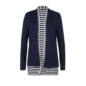 Olsen Cream and Navy Layered Cardigan