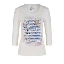 Olsen Swallow Print Top Off White