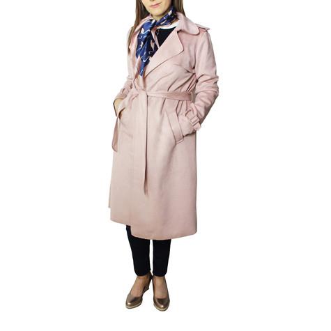 SophieB Dusty Faux Suede Long Tench Jacket