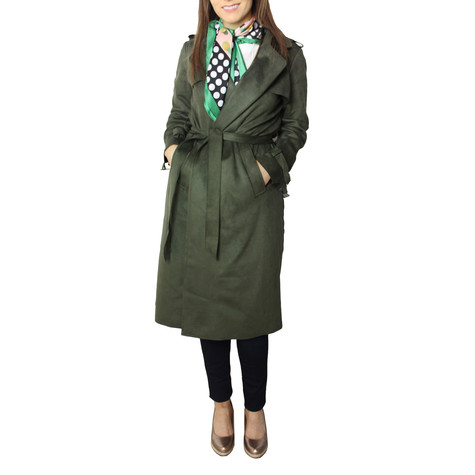 SophieB Khaki Faux Suede Long Tench Jacket