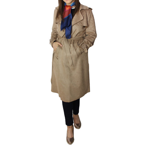SophieB Sand Faux Suede Long Tench Jacket