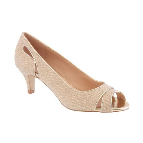 Barino Gold Kitten Heel Peep Toe Shoe