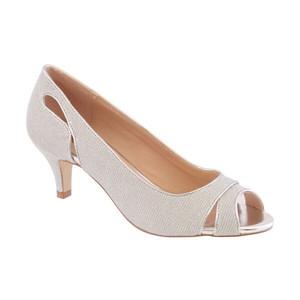 Barino Silver Kitten Heel Peep Toe Shoe