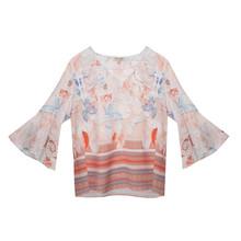 Tinta Style Pale Orange Floral Pattern Blouse