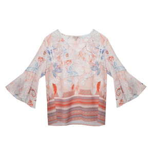 Tinta Style Pale Orange Floral Pattern Blouse