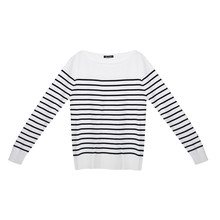 Twist White & Navy Stripe Long Sleeve Top