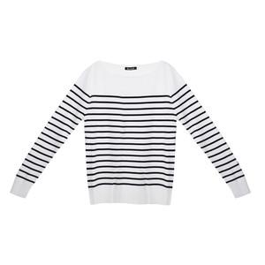 Twist White & Navy Stripe Long Sleeve Top