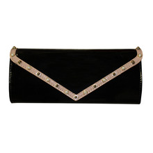 Style Shoes Black Tan Trim Stud Detail Clutch Bag