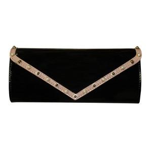 Style Shoes Black Tan Trim Stud Detail Clutch Bag