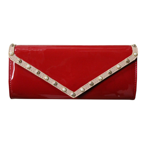 Style Shoes Red Tan Trim Stud Detail Clutch Bag