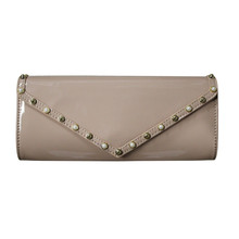 Style Shoes Beige Stud Detail Clutch Bag