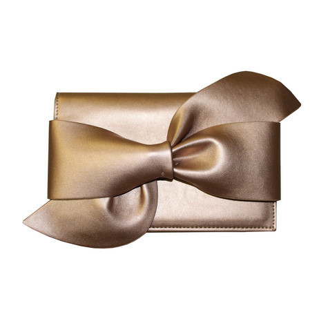 Style Shoes Gold Large Bow Clutch Bag