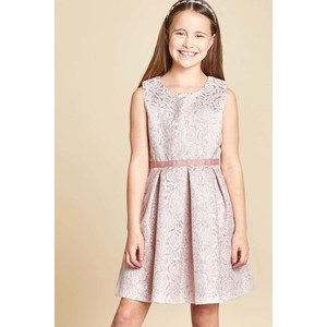 Yumi Girls Rose Metallic Jacquard Prom Dress