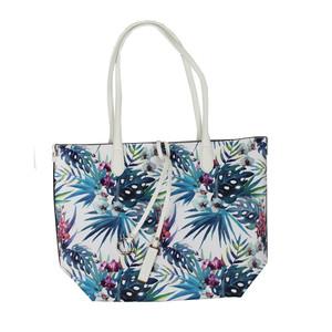 Dave Jones White Pastel Floral Print Shopper Bag