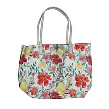 Dave Jones Silver Floral Pastel Print Shopper Bag