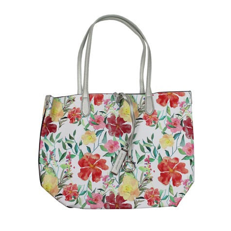 Dave Jones Silver Floral Pastel Print Shopper Bag