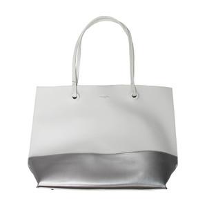 Dave Jones White & Silver Trim Shopper Bag
