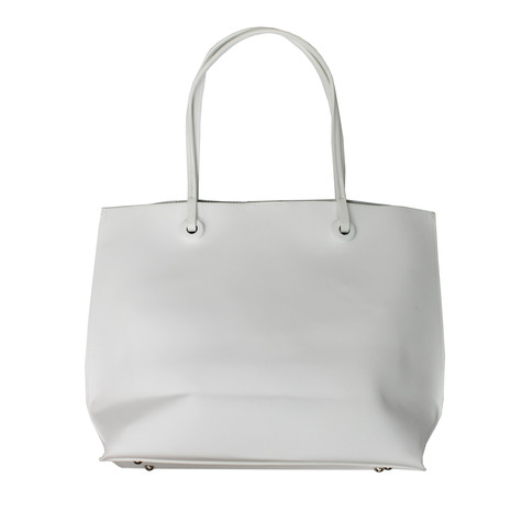 Dave Jones White & Silver Trim Shopper Bag
