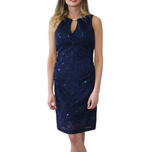 Scarlett Navy Sequence Diamante Detail Dress
